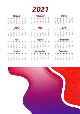 English calendar of 2021. Week starts on Sunday. Office supplies design. Business template. Abstract colorful illustration. Vector