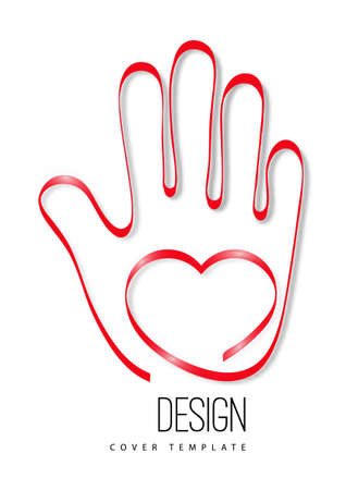 Modern logo with a heart and palm of a hand. The concept of charity, volunteering, love, kindness. Vector illustration for your design. Stock Illustratie