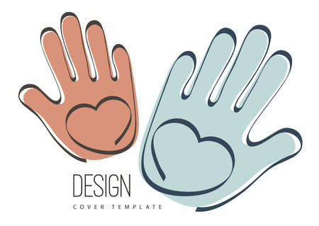 Palms of hands and heart. Creative design. The concept of support, charity, volunteering, love, kindness. Vector illustration. Stock Illustratie