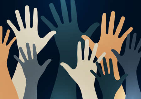 People raise their hands, vote with their hands. The concept of multinationality, diversity, union and power. Volunteering, charity, donations and solidarity. Vector 免版税图像