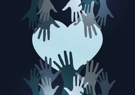 Palms of hands and heart. Creative design. The concept of support, charity, volunteering, love, kindness. Vector illustration. Stockfoto