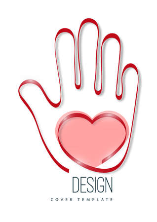 Modern logo with a heart and palm of a hand. The concept of charity, volunteering, love, kindness. Vector illustration for your design. Stockfoto
