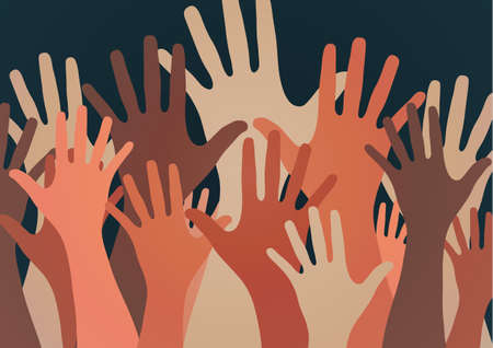 People raise their hands, vote with their hands. The concept of multinationality, diversity, union and power. Volunteering, charity, donations and solidarity. Vector Reklamní fotografie