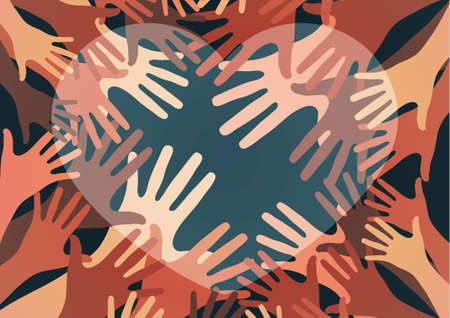 Palms of hands and heart. Creative design. The concept of support, charity, volunteering, love, kindness. Vector illustration. Stok Fotoğraf