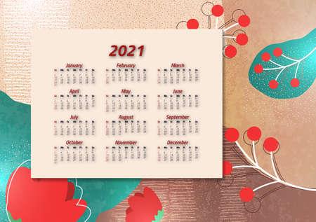 Creative art calendar 2021, 12 months. Bright design, flyer, brochure, advertisement. Иллюстрация