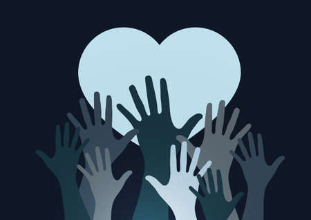 Palms of hands and heart. Creative design. The concept of support, charity, volunteering, love, kindness. Vector illustration. 向量圖像