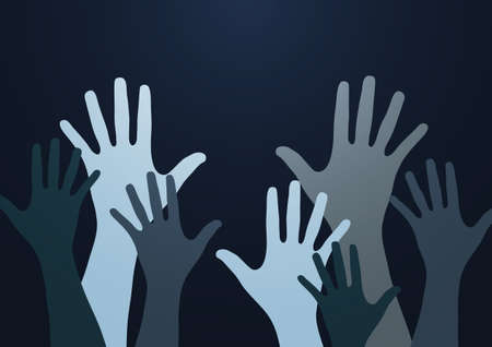 People raise their hands, vote with their hands. The concept of multinationality, diversity, union and power. Volunteering, charity, donations and solidarity. Vector illustration