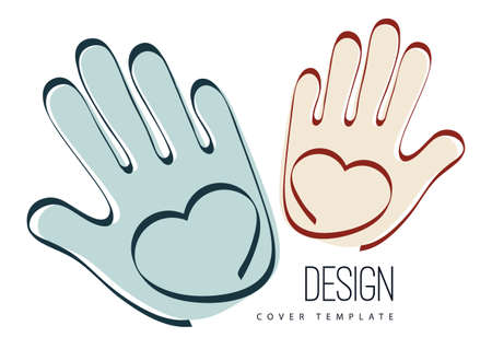 Palms of hands and heart. Creative design. The concept of support, charity, volunteering, love, kindness.