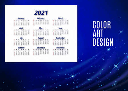 English calendar of 2021. Week starts on Sunday. Office supplies design. Business template. Abstract colorful illustration.