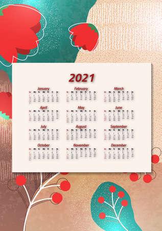 Creative art calendar 2021, 12 months. Bright design, flyer, brochure, advertisement. Stock Illustratie