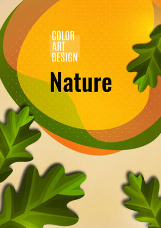 Creative oak leaves on a light background, smooth overlapping shapes. Colorful advertising banner for sale. Seasonal discounts. Template with copy space for marketing. Vector illustration