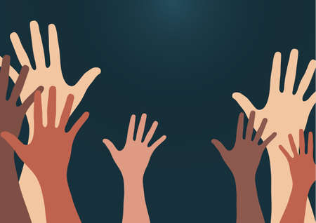People raise their hands, vote with their hands. The concept of multinationality, diversity, union and power. Volunteering, charity, donations and solidarity. Vector Stock Illustratie