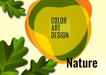 Creative oak leaves on a light background, smooth overlapping shapes. Colorful advertising banner for sale. Seasonal discounts. Template with copy space for marketing.