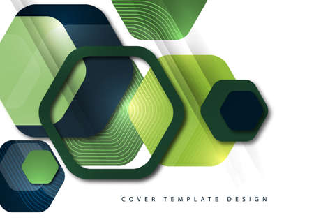 Abstract background of rounded colored hexagons. Business presentation template. Modern geometric design. Vector illustration. Illusztráció