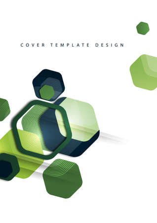 Abstract background of rounded colored hexagons. Business presentation template. Modern geometric design.