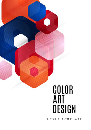 Abstract background of rounded colored hexagons. Business presentation template. Modern geometric design. Vector illustration. Ilustração