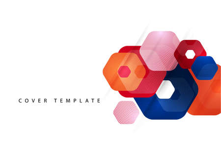 Abstract background of rounded colored hexagons. Business presentation template. Modern geometric design. Vector illustration. Standard-Bild - 154203570