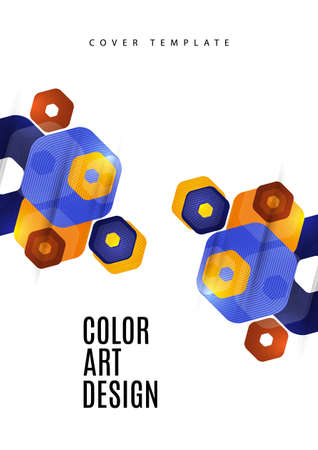 Bright abstract background of rounded multicolored hexagons. Business presentation template. Modern geometric design. Vector illustration