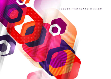 Abstract background of rounded colored hexagons. Business presentation template.