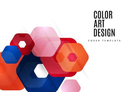 Abstract background of rounded colored hexagons. Business presentation template. Modern geometric design. illustration. Standard-Bild - 154922931