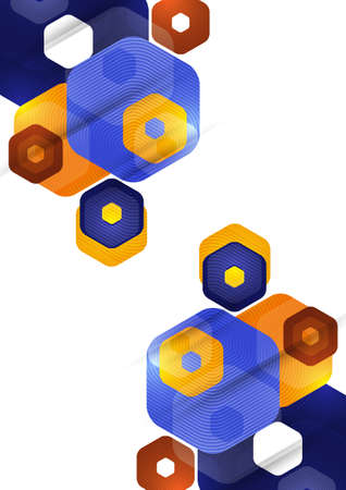 Bright abstract background of rounded multicolored hexagons. Business presentation template.