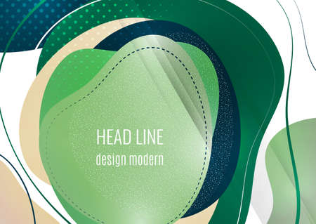 Smooth abstract overlapping shapes. Colorful advertising banner for sale. Seasonal discounts. Template with copy space for marketing. Vector illustration Ilustração