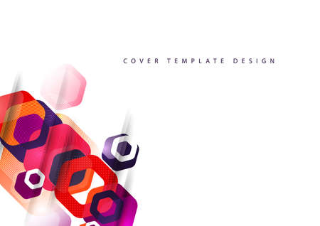 Abstract background of rounded colored hexagons. Business presentation template. Modern geometric design. Vector illustration. Standard-Bild - 154441030