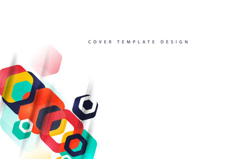Abstract background of rounded colored hexagons. Business presentation template. Modern geometric design. Vector illustration. Standard-Bild - 154441031