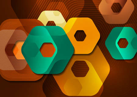 Bright abstract background of rounded multicolored hexagons and lines. Illustration