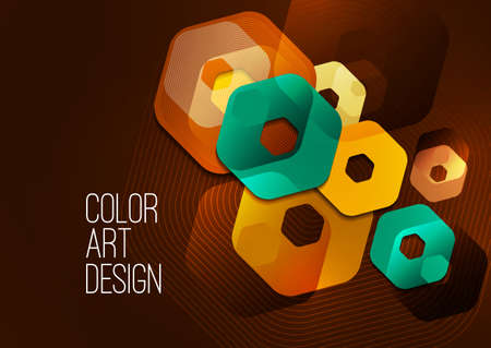 Bright abstract background of rounded multicolored hexagons and lines.