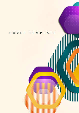 Bright abstract background of rounded multicolored hexagons and lines. Business presentation template.
