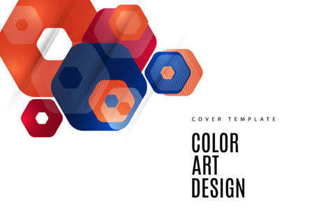 Bright abstract background of rounded multicolored hexagons. Business presentation template. Modern geometric design.