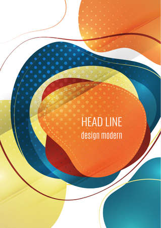 Smooth abstract overlapping shapes. Colorful advertising banner for sale. Seasonal discounts. Template with copy space for marketing. Vector illustration Illusztráció
