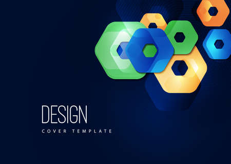 Bright abstract background of rounded multicolored hexagons and lines. Business presentation template. Standard-Bild - 154105781