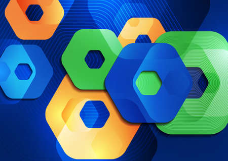 Bright abstract background of rounded multicolored hexagons and lines. Business presentation template. Modern geometric design. illustration Standard-Bild - 154923037