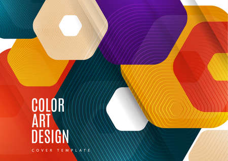 Abstract background of rounded colored hexagons. Business presentation template. Modern geometric design. Vector illustration. Standard-Bild - 154203586