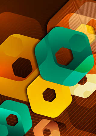 Bright abstract background of rounded multicolored hexagons and lines. Business presentation template. Modern geometric design. Vector illustration Standard-Bild - 154203587