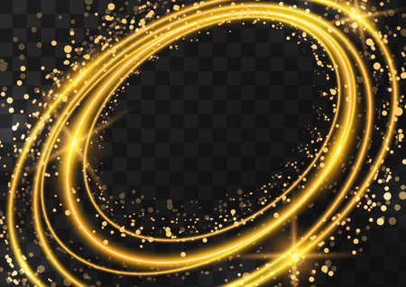 Frame made of gold oval rings with glitter, sparkles and flashes on a dark transparent background. illustration.