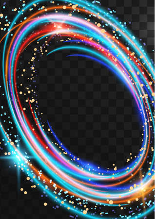 Frame from bright neon multicolored oval rings with glitter, sparkles and flashes on a dark transparent background. Vector illustration. Standard-Bild - 154203589
