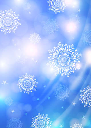 Bright abstract composition, falling snowflakes, spinning particles, glare. Magic concept with bokeh effect for design of cards, banners, flyers or backgrounds. Vector illustration Standard-Bild - 154203593
