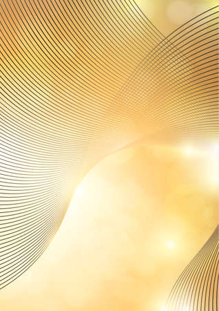 Bright abstract composition, shiny curved lines, wavy blending lines, glittering particles, highlights. Magic concept with bokeh effect for design of cards, banners, flyers or backgrounds. Vector