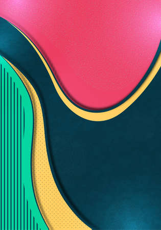 Colorful abstract wave geometric background. Composition of liquid forms. Template for banner, flyer, cover, business card. Vector illustration Illusztráció