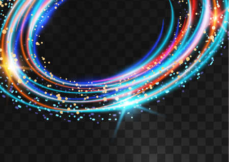 Frame from bright neon multicolored oval rings with glitter, sparkles and flashes on a dark transparent background. Vector illustration. Illustration