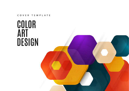 Abstract background of rounded colored hexagons. Business presentation template. Modern geometric design. Vector illustration. Illustration