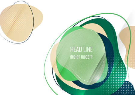 Smooth abstract overlapping shapes. Colorful advertising banner for sale. Seasonal discounts. Template with copy space for marketing. Vector illustration Illustration