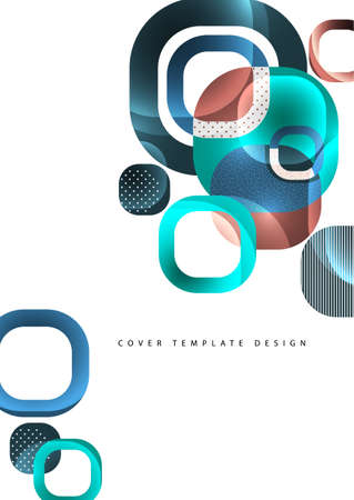 Overlapping round squares form a geometric abstract background composition. Illustration