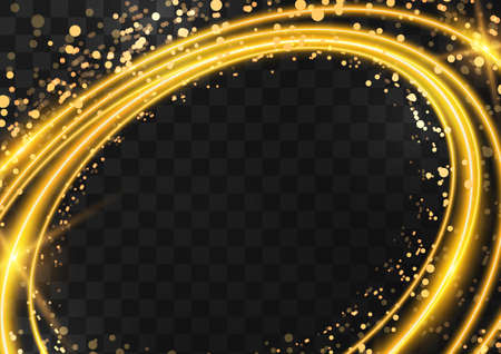 Frame made of gold oval rings with glitter, sparkles and flashes on a dark transparent background. Vector illustration. Illustration