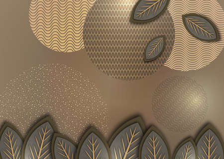 Abstract background with creative leaves, circles, points, lines on a beige background. Trendy illustration for your design.