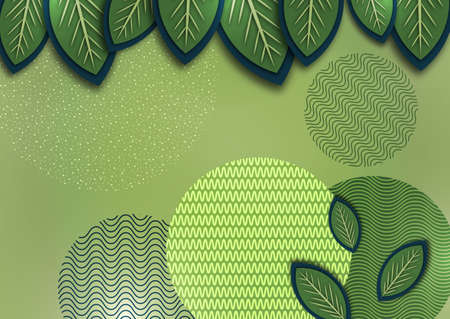 Abstract background with creative leaves, circles, points, lines on a green background. Trendy illustration for your design. Standard-Bild