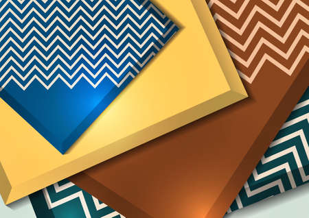 Multicolored decorative 3D squares on a light background. Template for your design. Abstract illustration.